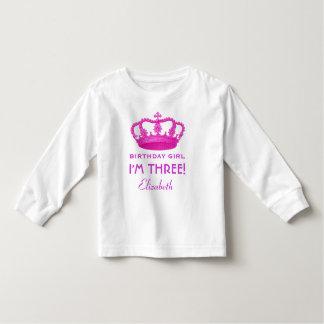Princesa real Crown del chica del cumpleaños 3 Camisas