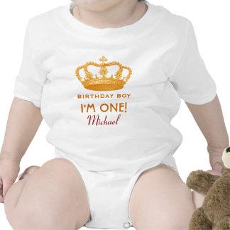 Princesa real Crown del muchacho del cumpleaños un Camiseta