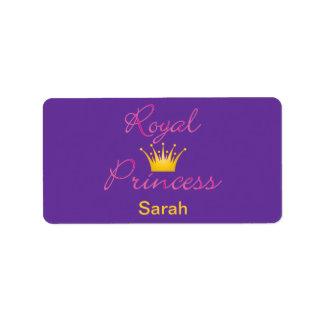 Princesa real etiqueta de dirección