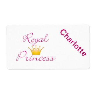 Princesa real etiquetas de envío