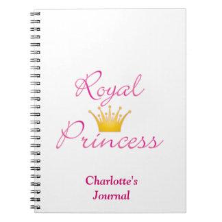 Princesa real libros de apuntes con espiral