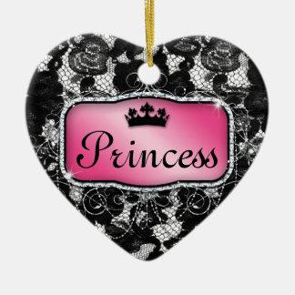 Princesa Real linda floral de la flor del cordón Adorno Navideño De Cerámica En Forma De Corazón