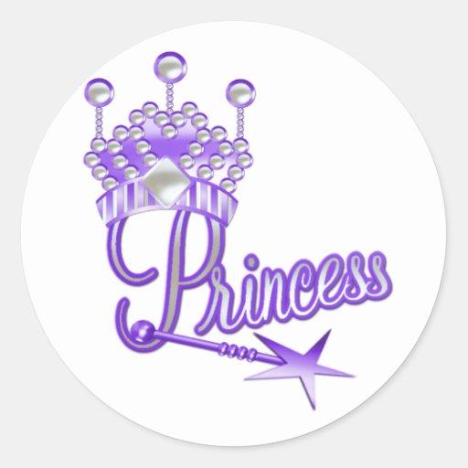 Princesa Real púrpura Etiqueta Redonda