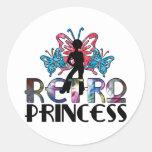 Princesa retra - hada de la mariposa del chica del etiqueta redonda