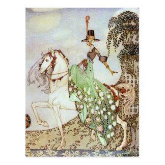 Princesa Riding del cuento de hadas en la postal d