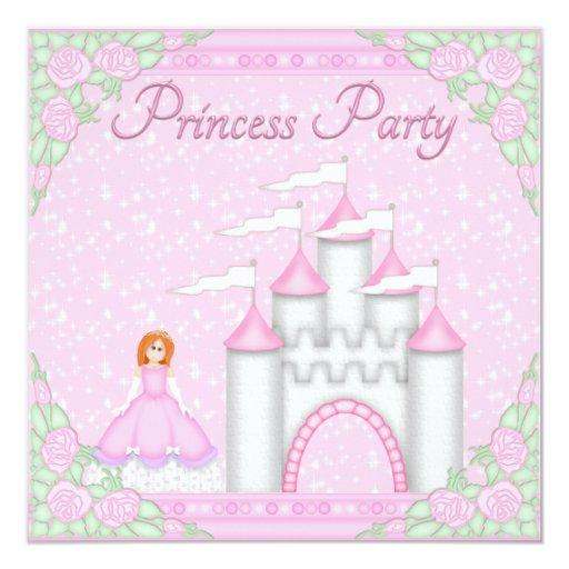 Princesa roja del pelo y princesa rosada Party del Invitación 13,3 Cm X 13,3cm