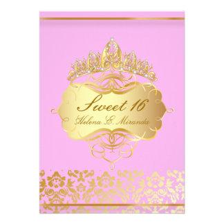 Princesa rosa del dulce 16 de PixDezines+damasco d Invitación Personalizada