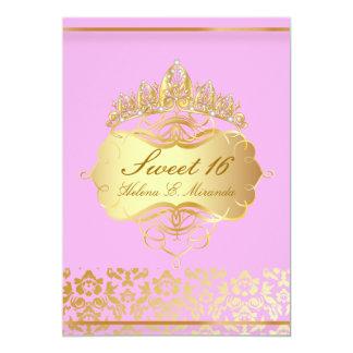 Princesa/rosa del dulce 16/de PixDezines+damasco Invitación 12,7 X 17,8 Cm