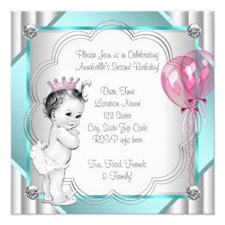 """Princesa rosada 2do cumpleaños invitación 5.25"""" x 5.25"""""""