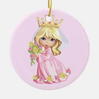 Princesa rosada adorno navideño redondo de cerámica