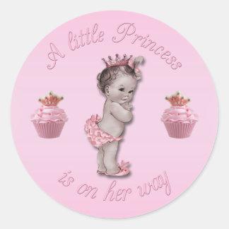 Princesa rosada Baby del vintage y ducha de las Pegatina Redonda