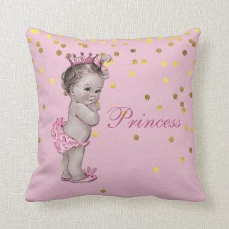 Princesa rosada Baby Gold Confetti del vintage Cojín