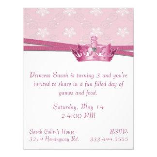 Princesa rosada Birthday Invitation Comunicado Personalizado