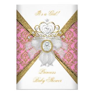 """Princesa rosada blanca Damask del chica de la Invitación 4.5"""" X 6.25"""""""