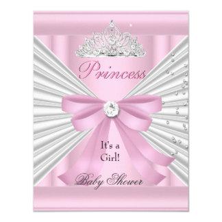 """Princesa rosada blanca Tiara del chica de la Invitación 4.25"""" X 5.5"""""""