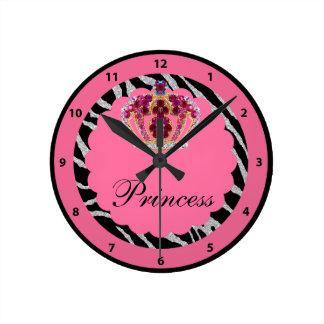 Princesa rosada Bling Crown y reloj del estampado