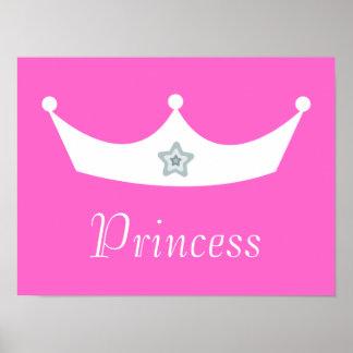 Princesa rosada bonita Customizable de la corona b Póster
