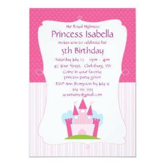 """Princesa rosada Castle Birthday Invitación 5"""" X 7"""""""