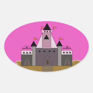 Princesa rosada Castle Pegatina Ovalada