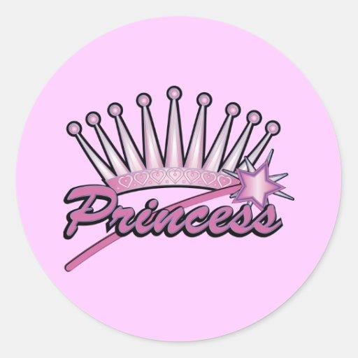 Princesa rosada Crown Etiqueta