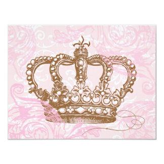 """Princesa rosada Crown Invitations Invitación 4.25"""" X 5.5"""""""