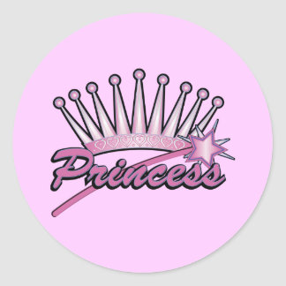 Princesa rosada Crown Etiqueta Redonda