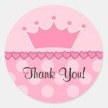 Princesa rosada Crown Thank You Sticker Etiquetas Redondas