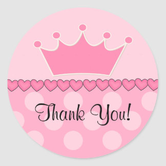 Princesa rosada Crown Thank You Sticker Pegatina Redonda