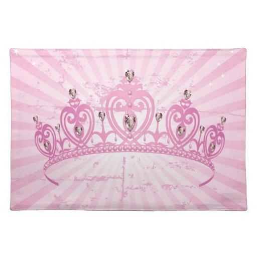 Princesa rosada Crown Tiara Jeweled Girly Placemat Manteles