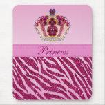 Princesa rosada Crown Zebra Glitter Print Mousepad Alfombrillas De Raton