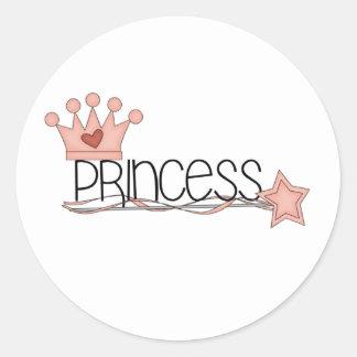Princesa rosada de la corona y de la vara pegatina redonda