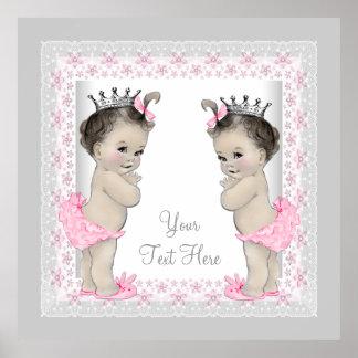 Princesa rosada de la niña del gemelo del vintage póster