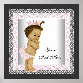 Princesa rosada de la niña del vintage posters