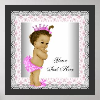 Princesa rosada de la niña del vintage impresiones