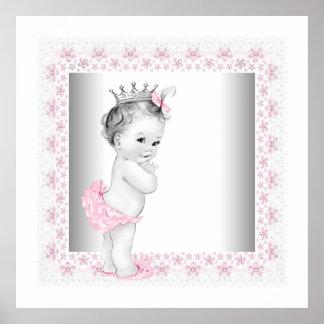 Princesa rosada de la niña poster