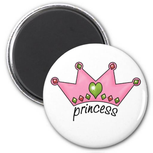 Princesa rosada de la tiara iman para frigorífico