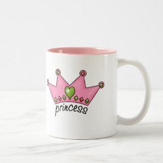 Princesa rosada de la tiara taza de dos tonos