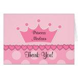 Princesa rosada dulce CrownThank You Note Tarjeta Pequeña