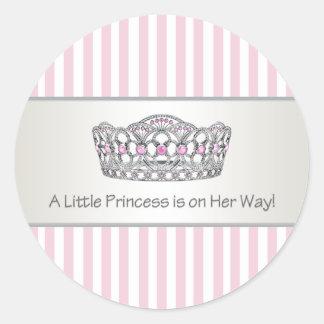 Princesa rosada Envelope Seal Label de la tiara de Pegatina Redonda