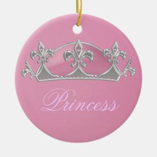 Princesa rosada Faux Crown el chispear con los dia Ornaments Para Arbol De Navidad