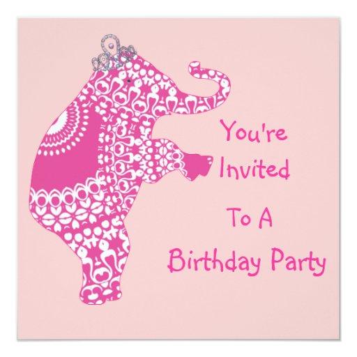 """Princesa rosada femenina linda Elephant Party Invitación 5.25"""" X 5.25"""""""