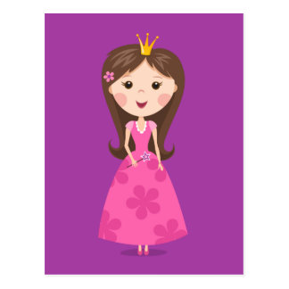 Princesa rosada femenina linda en fondo púrpura tarjetas postales