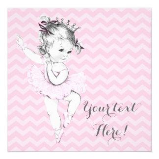 Princesa rosada fiesta de bienvenida al bebé de la invitación personalizada