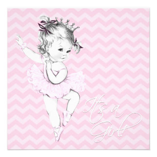 Princesa rosada fiesta de bienvenida al bebé de la anuncios personalizados