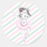 Princesa rosada fiesta de bienvenida al bebé de la etiquetas redondas