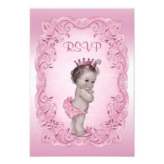 Princesa rosada fiesta de bienvenida al bebé del v invitación personalizada