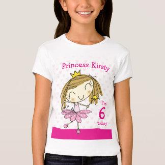Princesa rosada linda 6to cumpleaños de la edad 6 playera