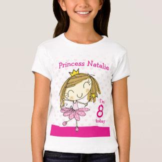 Princesa rosada linda 8vo cumpleaños de la edad 8 playera