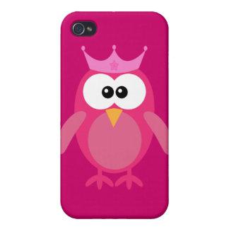 Princesa rosada linda del búho iPhone 4 carcasas