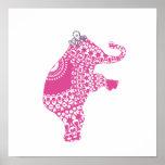 Princesa rosada linda Elephant Baby Nursery Print Posters
